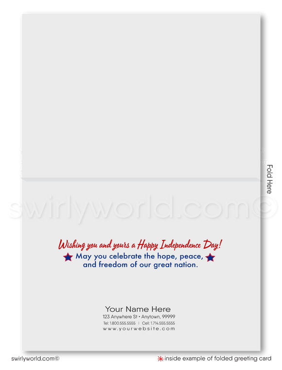 Corporate Happy 4th of July Customer Cards for Business