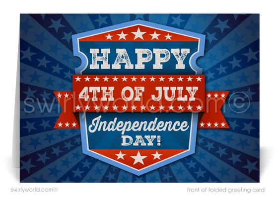 Patriotic July 4th Greeting Cards for Business