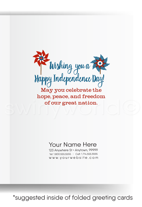 Pinwheel Happy 4th of July Cards for Business
