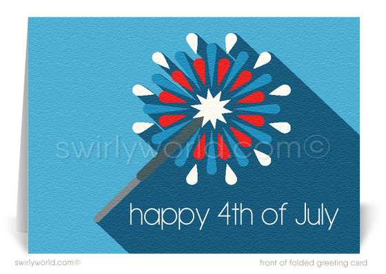 Retro modern business happy Independence Day July 4th cards.