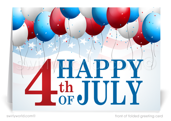 Patriotic Business July 4th Greeting Cards for Customers