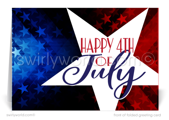 Independence Day Patriotic Star Happy 4th of July Cards