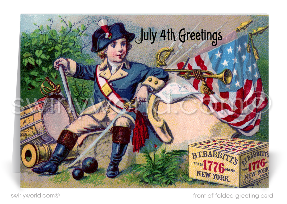 Vintage retro patriotic American 4th of July greeting cards.