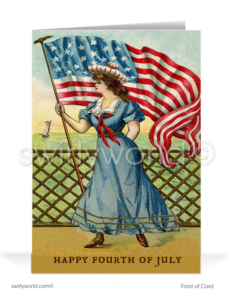 Vintage Victorian 1920's style Happy Fourth 4th of July Cards.