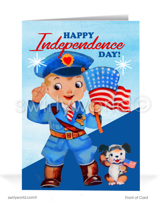 Mid-century vintage retro modern Happy Fourth of July cards.