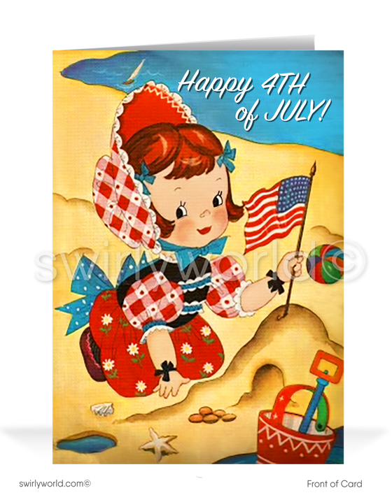 Mid-century vintage retro cute Happy 4th Fourth of July cards.
