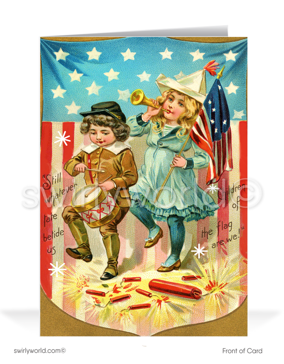 Vintage Victorian Retro Happy Fourth 4th of July Greeting Cards.