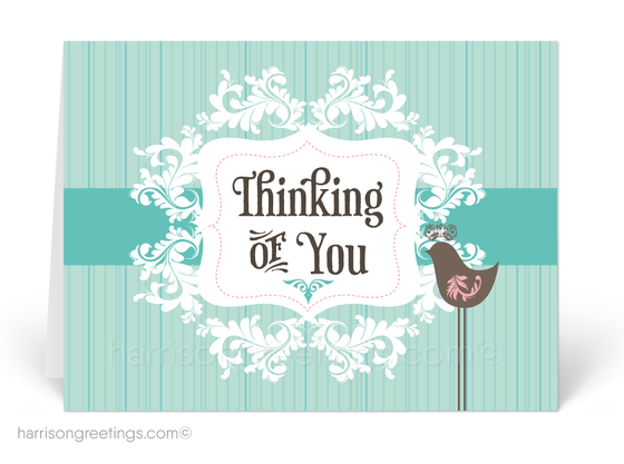 Retro Modern Thinking of You Greeting Cards