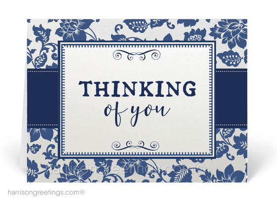 Traditional Navy Thinking of You Cards