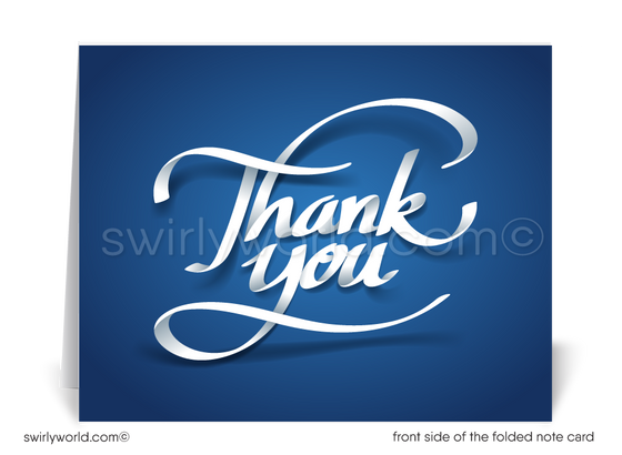 Retro Modern Navy Blue Thank You Cards for Business
