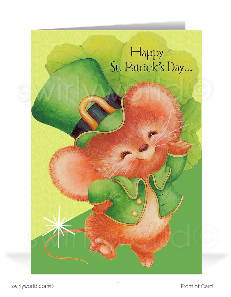 Vintage 1960's style mid-century St. Patrick's Day cards.