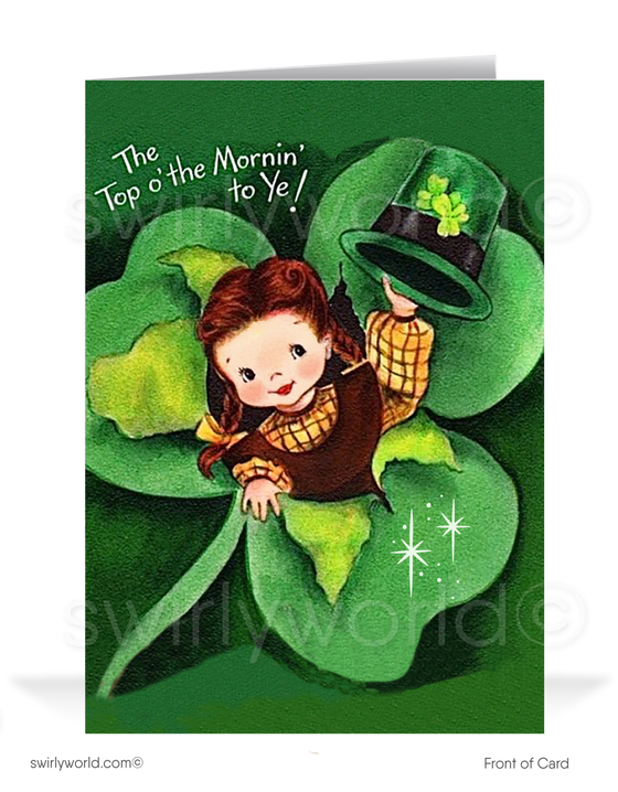 Cute Girl Shamrock Vintage 1940's Retro Happy St. Patrick's Day Cards