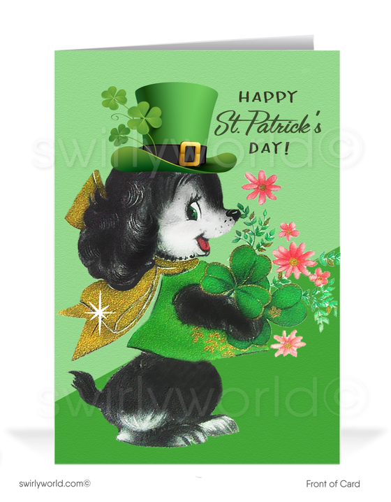Cute Dog Vintage 1950's Retro Happy St. Patrick's Day Cards