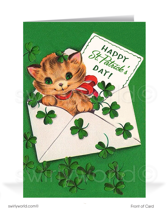 Cute Cat With Shamrocks Vintage 1950's Retro Happy St. Patrick's Day Cards