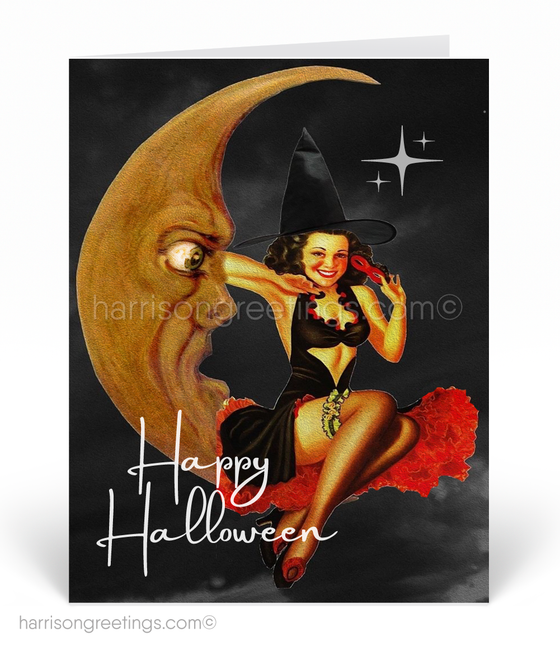 Vintage Pin-up Girl 1950's Halloween Cards