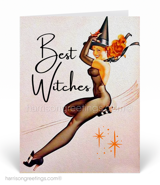 Vintage Pin-up Witch 1950's Retro Modern Halloween Card Digital Download