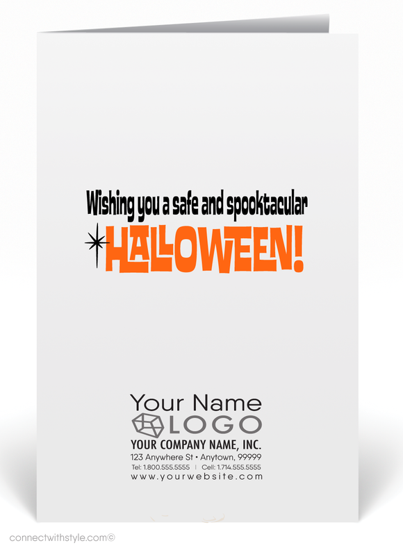 Vintage 1960's Retro Mod Mid-century Halloween Greeting Card Digital Download