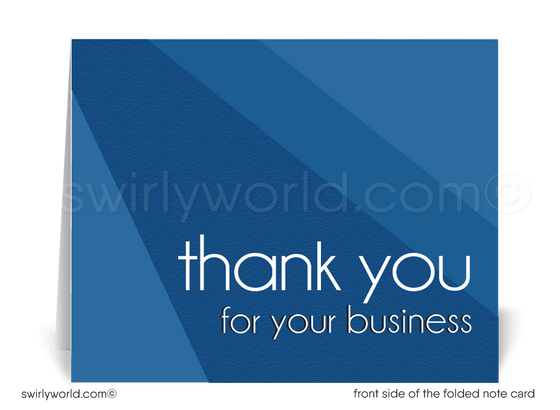 Retro Modern Style Navy Blue Thank You Note Cards