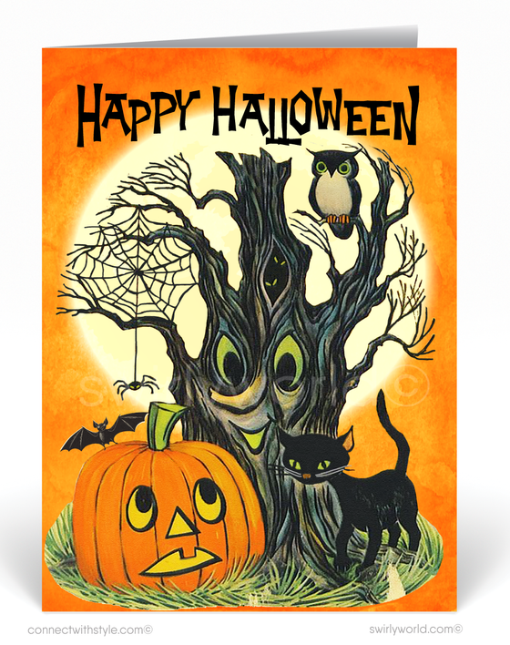 1960's Mid-Century Mod Vintage Retro Halloween Greeting Card Digital Download
