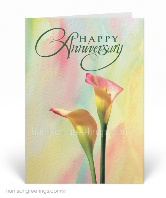 Watercolor Vintage Happy Anniversary Cards
