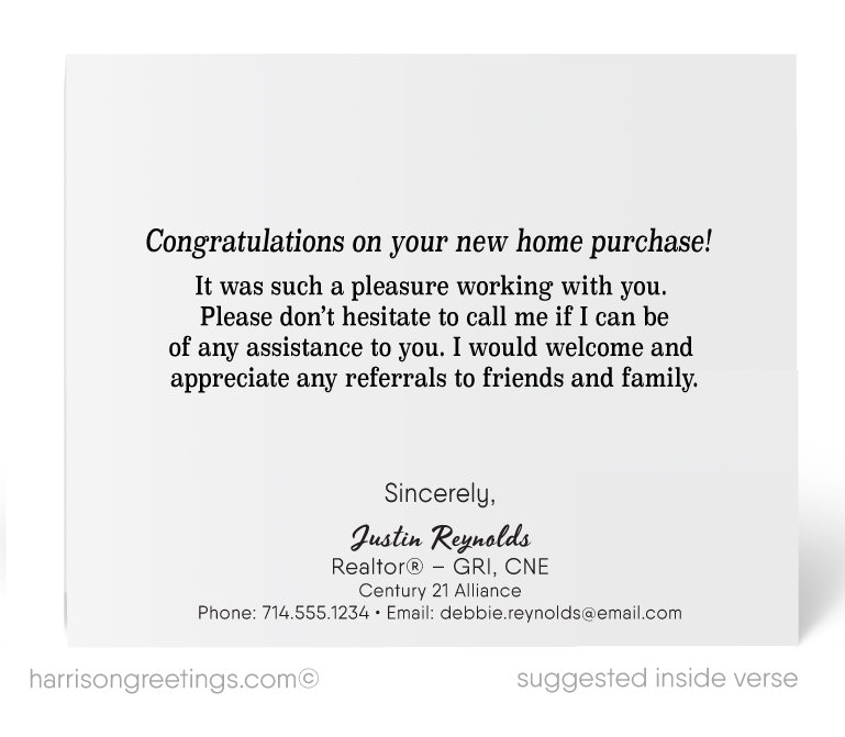 Congratulations On Your New Home Purchase Realtor Cards Harrison