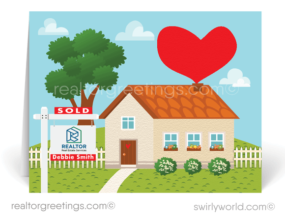 Cute Heart House Realtor Note Cards