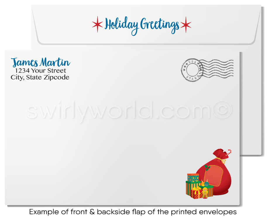 Cute Neighborhood House Real Estate Holiday Christmas Cards for Realtors