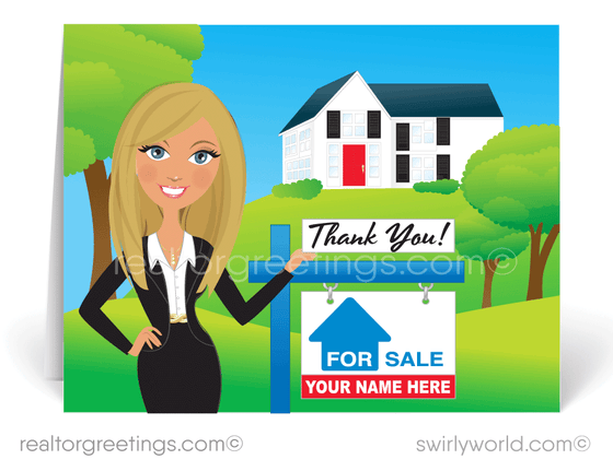 cute woman realtor. Blonde woman real estate agent.