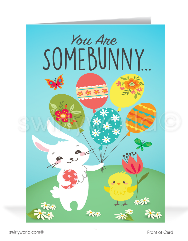 Cute Business Easter Bunny Easter Cards for Customers