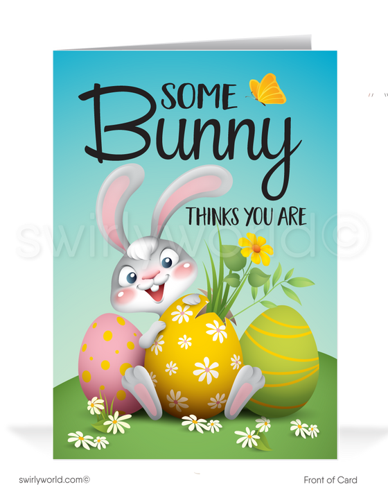 Funny Cartoon Business Happy Easter greeting cards for customers. Cute Bunny Business Happy Easter Cards for Customers