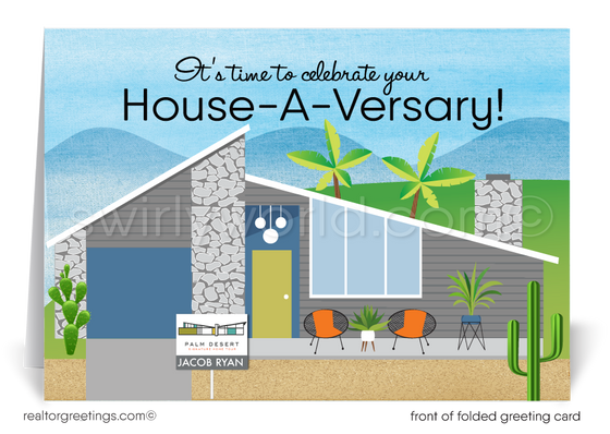 Mid-Century Modern Realtor Happy Home Anniversary Cards for Clients