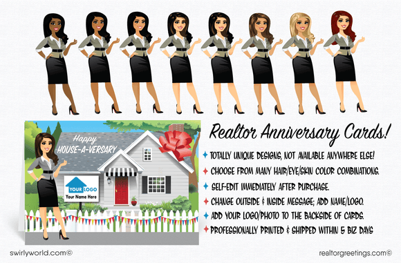 Happy Home Anniversary House-a-Versary Cards for Realtors
