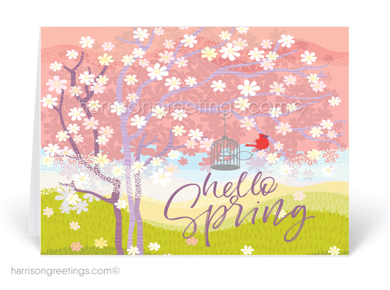 Whimsical Happy Spring Greeting Cards for Clients