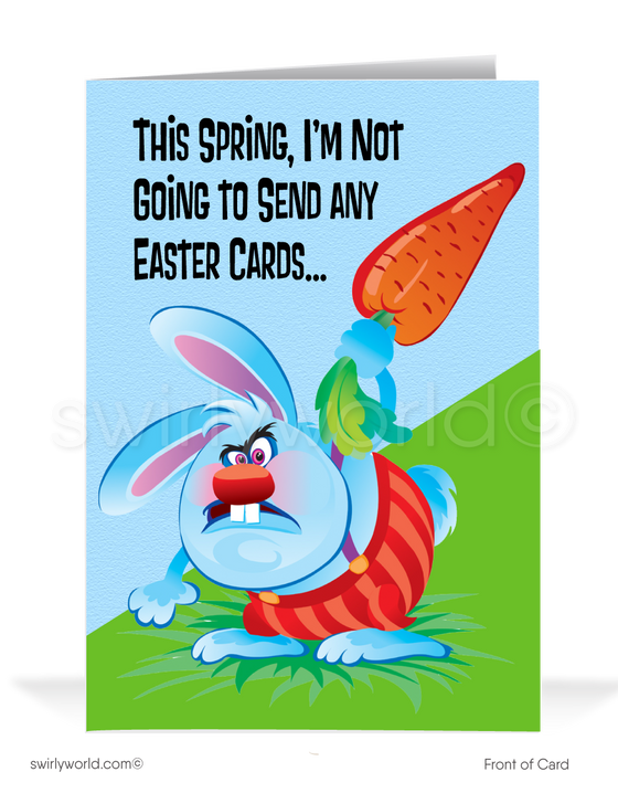 Funny Bunny Business Happy Easter Greeting Cards for Customers. Mean evil easter bunny