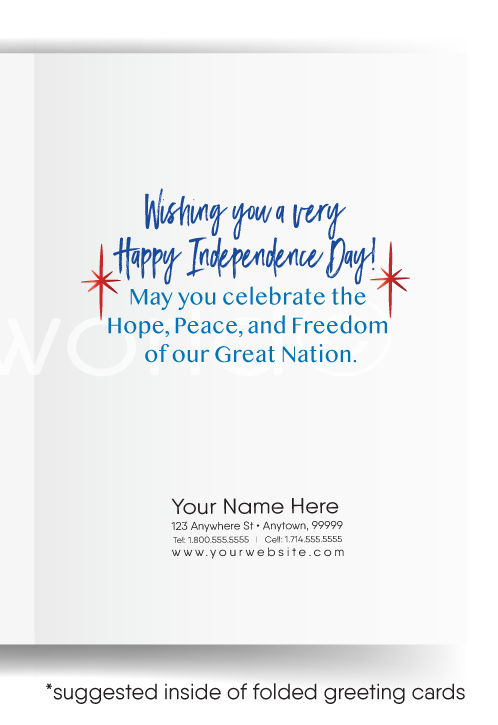 Realtor Patriotic July 4th Cards for Real Estate Agents