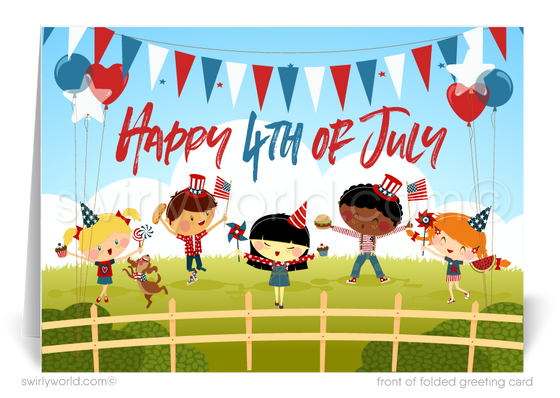 Whimsical Happy July 4th Cards for Customers