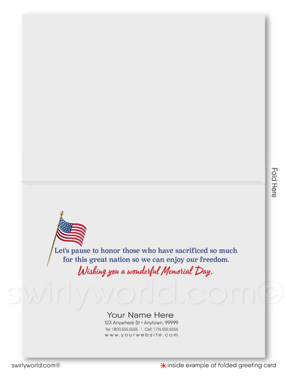 Business Patriotic American Memorial Day Cards for Customers