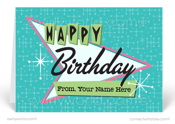 1950's Mid-Century Modern Retro Pink and Blue Happy Birthday Cards