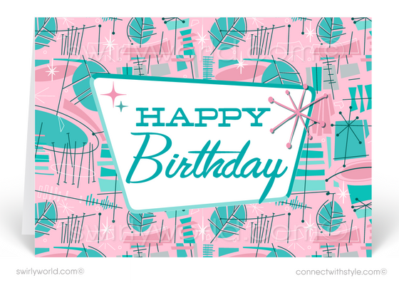 Mid-Century Pink Retro Modern Happy Birthday Cards