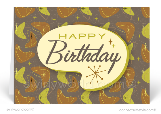 Atomic Mid-Century Retro Modern Tiki Happy Birthday Cards