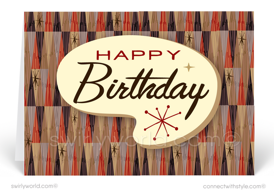 Atomic Tiki Mid-Century Retro Modern Happy Birthday Cards