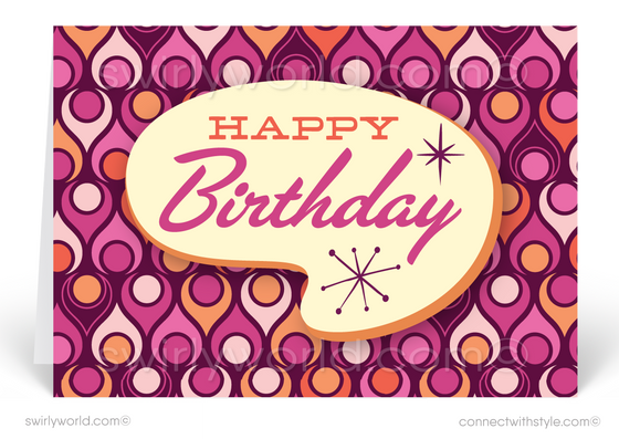 1960's Mod Mid-Century Modern Retro Pattern Happy Birthday Cards