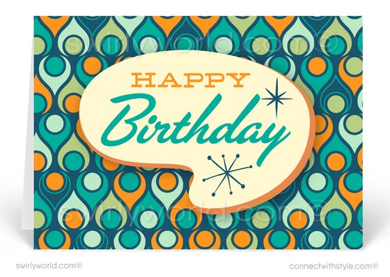 1960's Mid-Century Modern Retro Design Happy Birthday Cards