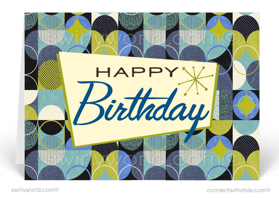 1950's Mid-Century Modern Retro Atomic Happy Birthday Cards