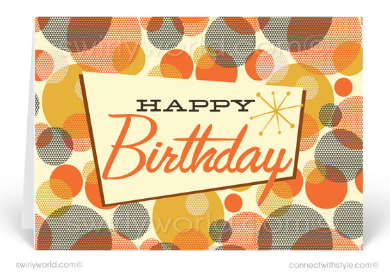 1950's Mid-Century Modern Retro Atomic Dots Happy Birthday Cards