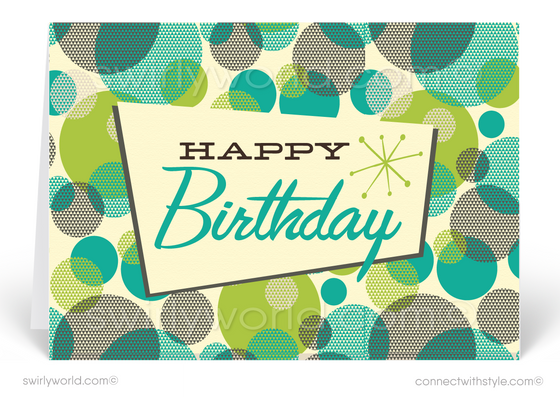 1950's Mid-Century Modern Retro Mod Atomic Dots Happy Birthday Cards