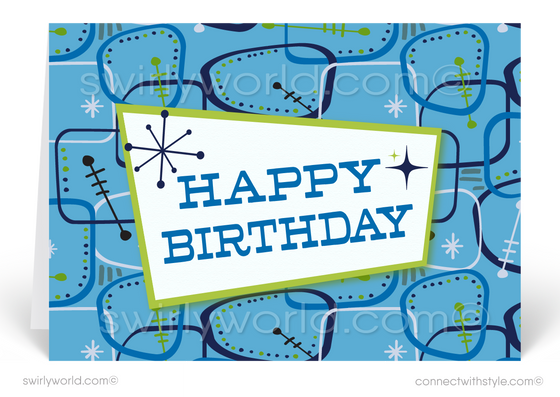 Retro Blue Atomic Modern Mid-Century Style Birthday Cards
