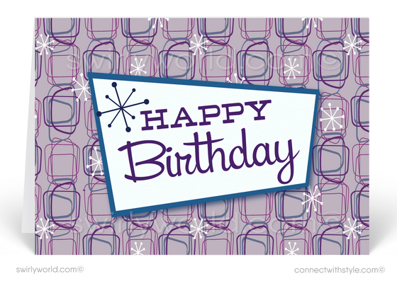 Retro Purple Atomic Modern Mid-Century Style Birthday Cards