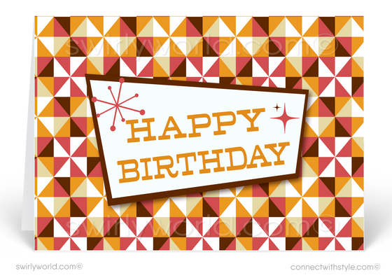 Retro Orange Mid-Century Modern Style Birthday Cards