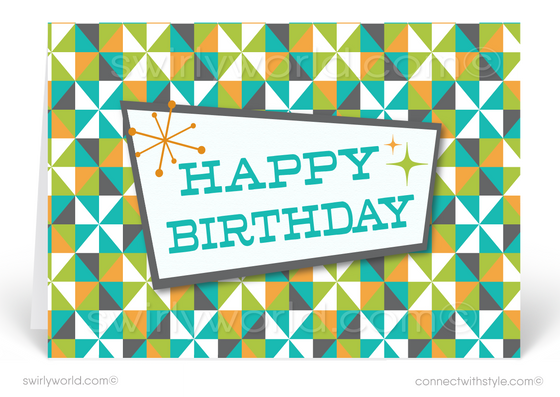 Atomic Retro Green and Blue Mid-Century Modern Style Birthday Cards